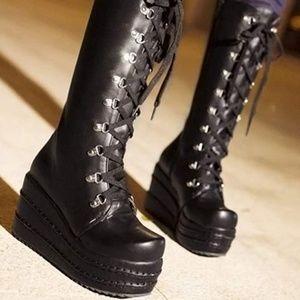 Shoes - Black Platform lace up Boots